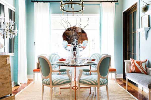 бирюзово-оранжевая гостинная
