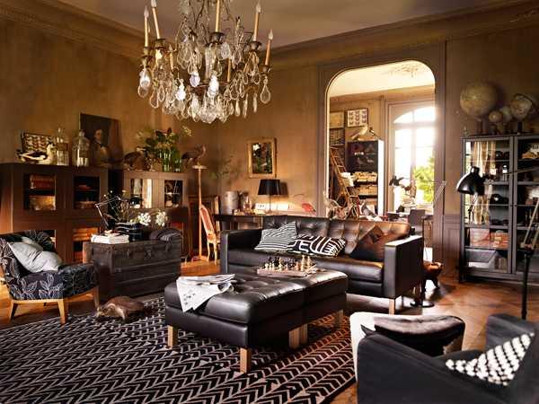 гостинная комната в коричневом цвете