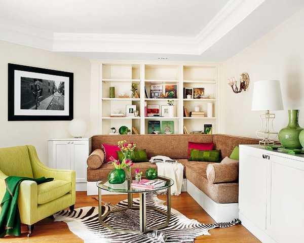 бежево зеленая гостиная
