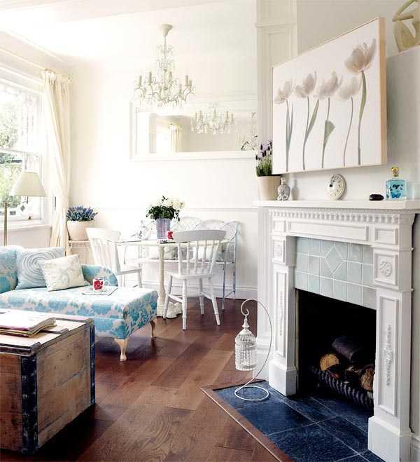 красивая гостинная в стиле прованс