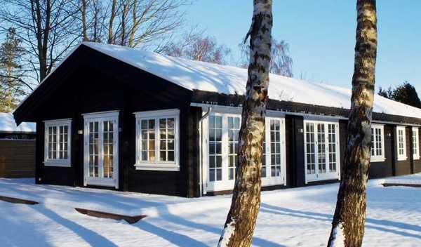 черный фасад дома зимой в снегу