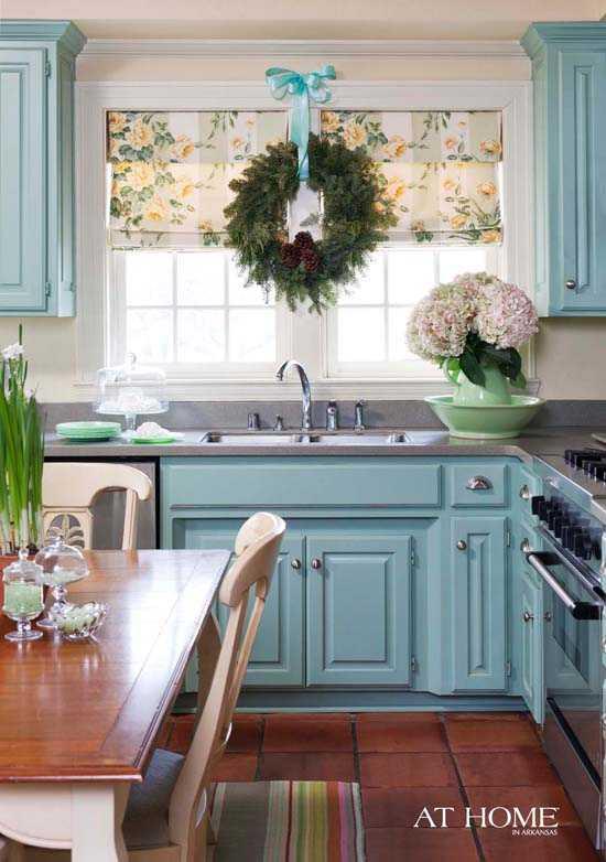 бирюзовая кухня и мебель