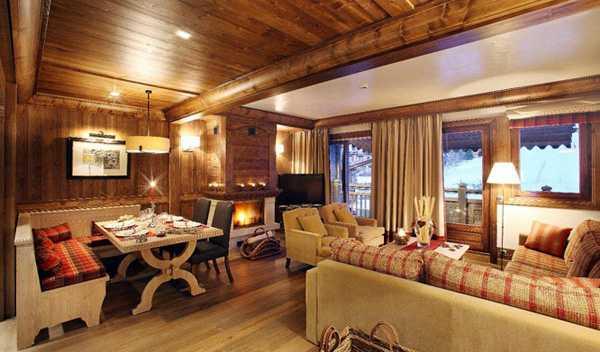 милый теплый интерьер в деревянном домике