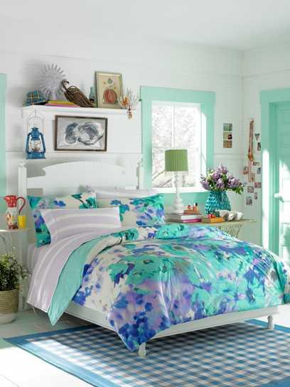 голубое постельное белье