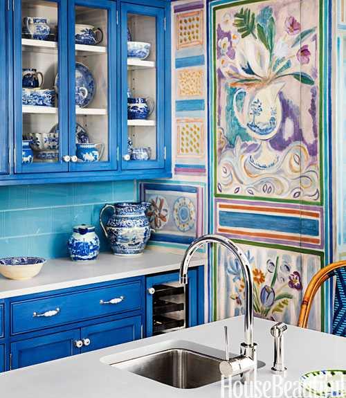 Ярко-синяя кухня〛 Фото Идеи Дизайн