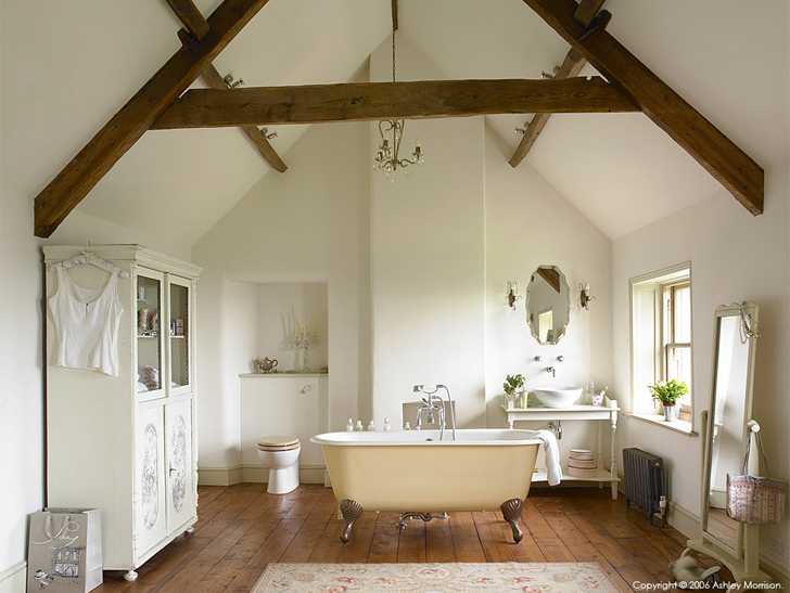 The bathroom in Julie-Christian Young's stone farmhouse near Bath.