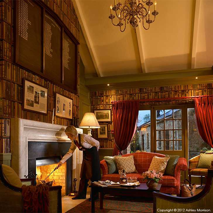The fireplace in Club House library at Dromoland Castle in County Clare.