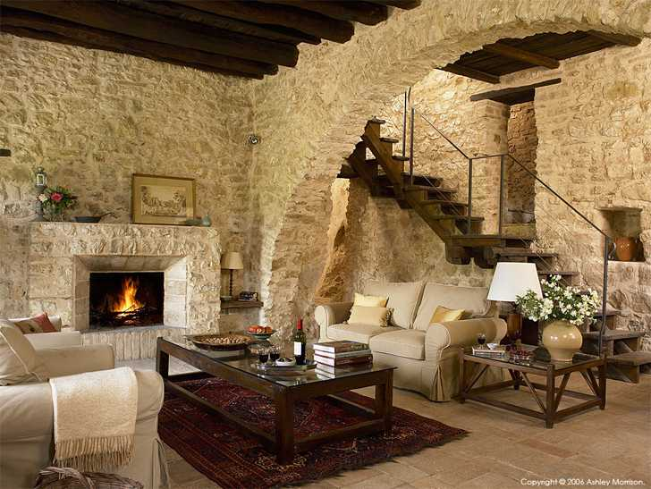The living room in L'Arco villa at the Pianciano hamlet near Spoleto in Italy.