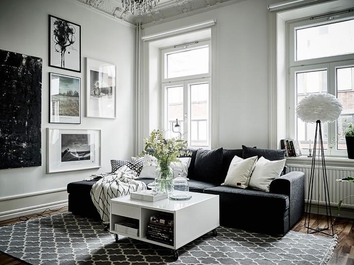 Монохромная шведская квартира (57 кв. м)   Пуфик - блог о дизайне интерьера