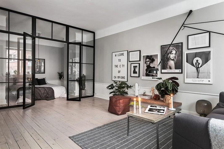 Квартира в сером со стеклянной перегородкой (52 кв. м)   Пуфик - блог о дизайне интерьера