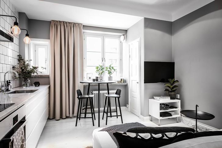 Небольшая студия в Швеции (29 кв.м) | Пуфик - блог о дизайне интерьера