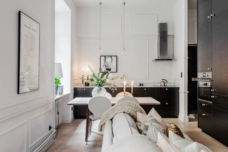 Стильная квартира с необычной планировкой в Стокгольме (54 кв. м)