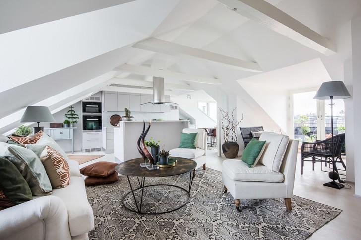 Красивый скандинавский чердак (114 кв. м) | Пуфик - блог о дизайне интерьера