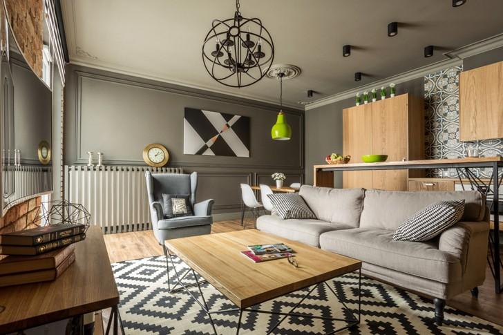 Квартира с кирпичной отделкой в Варшаве (55 кв. м)