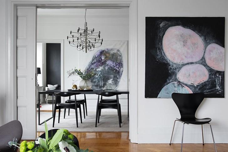 Интересный черно-белый интерьер в Швеции | Пуфик - блог о дизайне интерьера