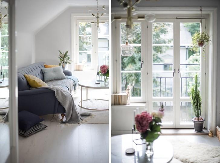 Уютная квартира под крышей в красивом шведском доме (42 кв. м) | Пуфик - блог о дизайне интерьера