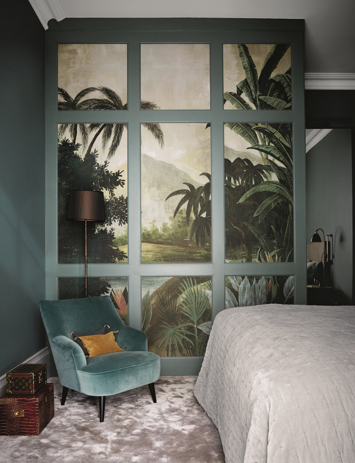 Feature, mansion flat, family home in Richmond, modern interior, classic furniture, minimalism, main bedroom, tropical wall, velvet chair, carpeted