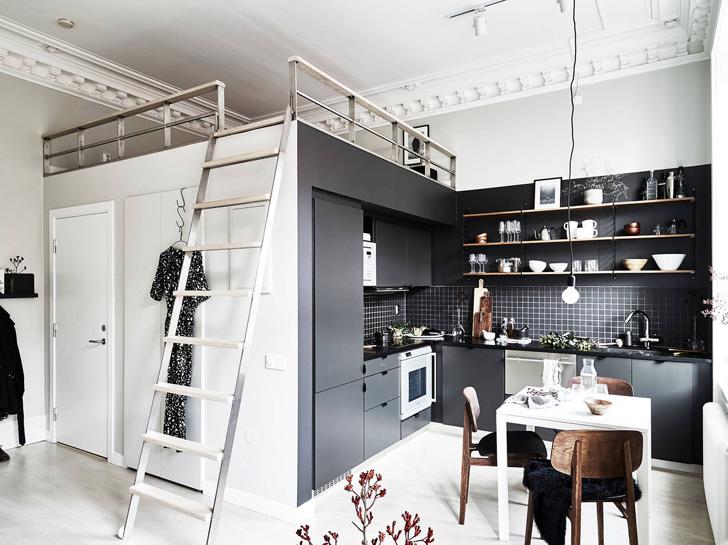 Красивая жизнь на 29 кв. м: скандинавский интерьер квартиры в Швеции