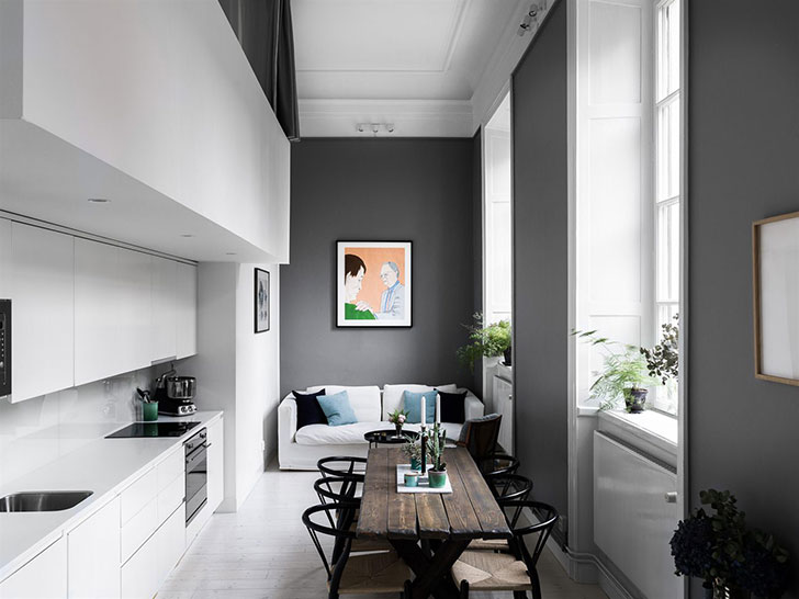 Apartment with an unusual layout in Stockholm (60 sqm) 〛 ◾ Photos on bathroom house design, balcony house design, ground house design, living room house design, 60 square meter house design, kitchen house design, bedroom house design, pool house design, 50 square meter house design, furnished house design,