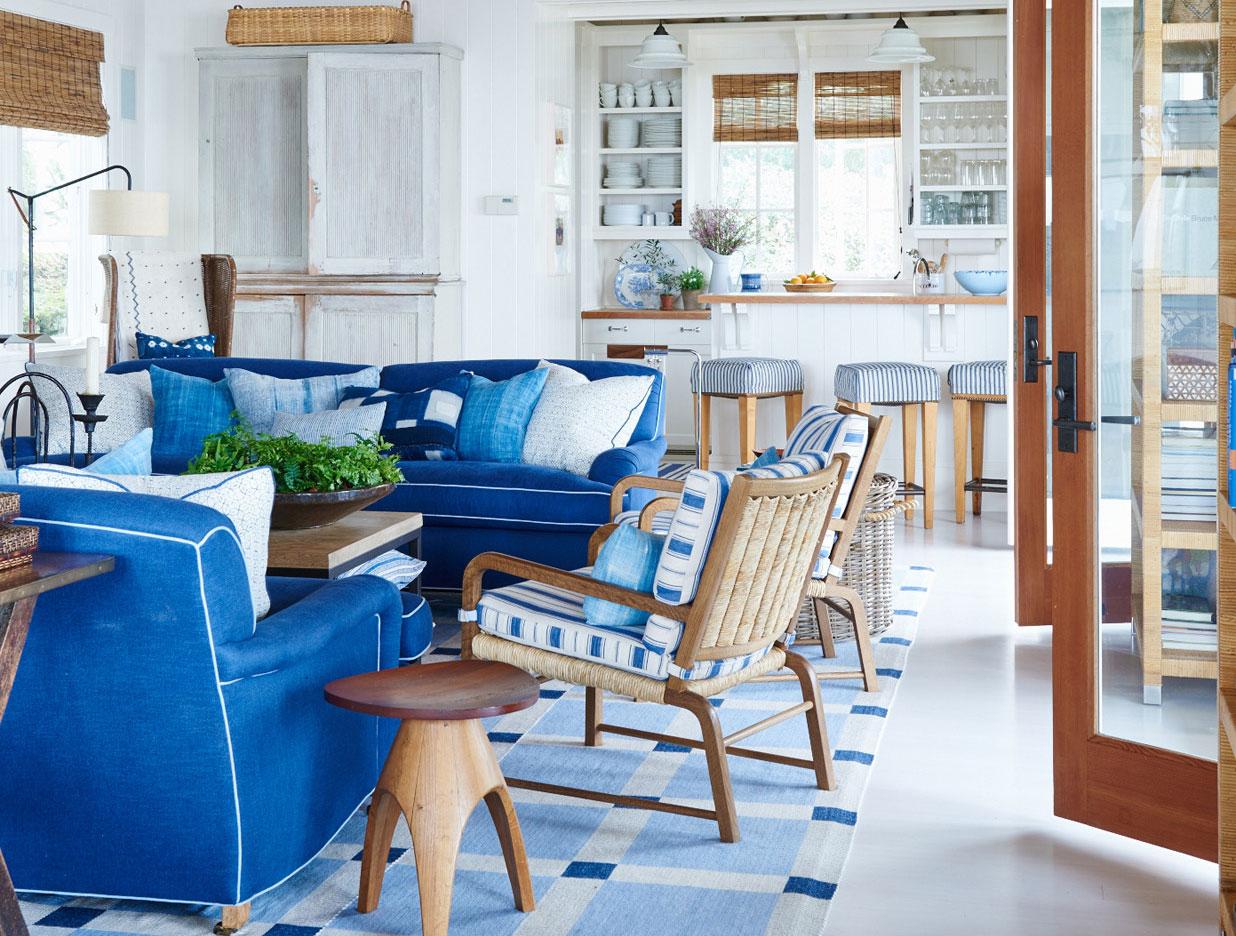 Оттенки синего в интерьере дома в Калифорнии