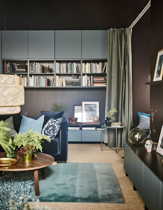 29 Living Room Interior Design: Ideas From IKEA: Wonderful Living Room In Dark Tones (29