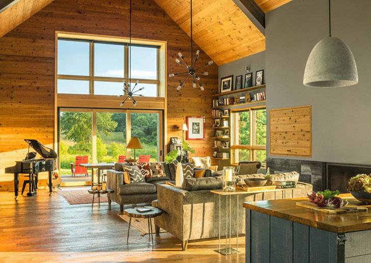 Современный деревянный коттедж для отдыха семьи в Вермонте