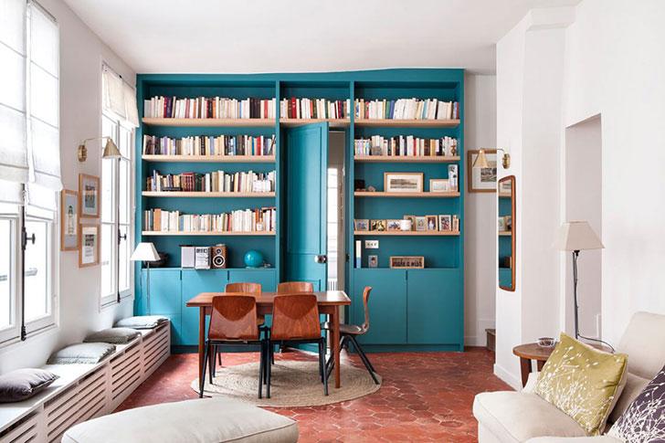 Сочетание стилей и материалов в парижской квартире (77 кв. м)