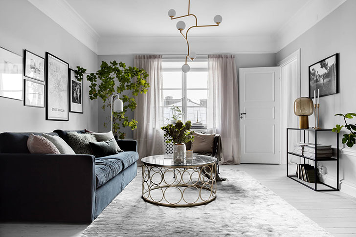 Стильная и элегантная квартира с камином в Швеции (79 кв. м)