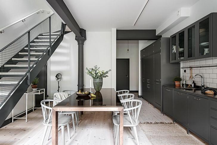 Стильная двухуровневая квартира с палисадником в Швеции (119 кв. м)