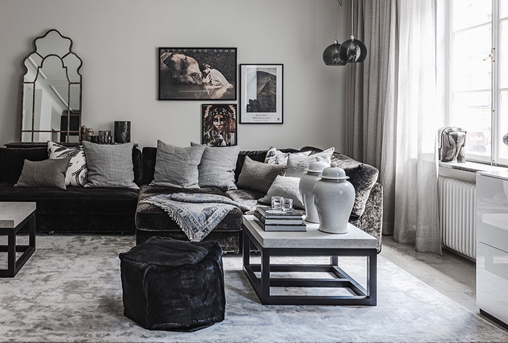 Refined Elegance Black Living Room Set By the way, furniture and accessories here are of clean elegant forms and  materials: velvet, wood, stone. Quite an interesting and refined black and  white ...