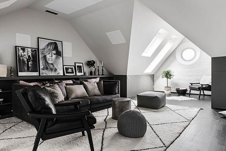 Квартира с необычной планировкой на последнем этаже в Стокгольме (115 кв. м)