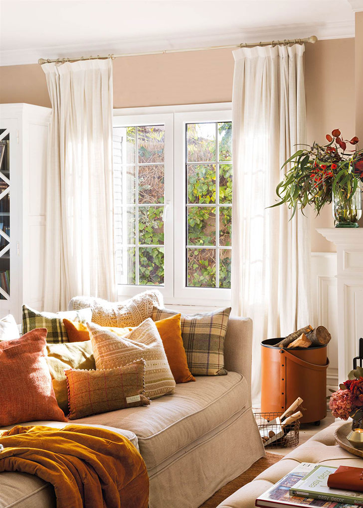 Autumn Living Room Decorating Ideas: How To Decorate Living Room With Autumn Colors 〛 Photos