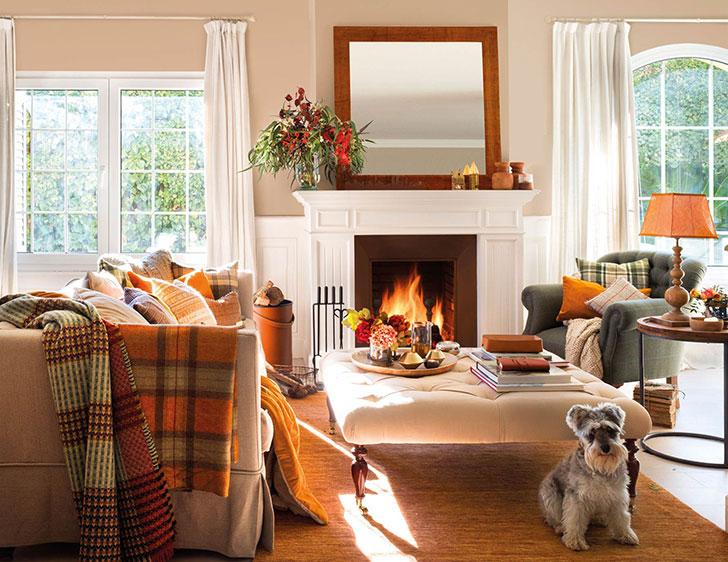 Как оформить дом к осени: пример уютной гостиной