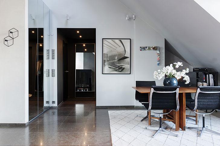 Элегантная мансардная квартира в Стокгольме (95 кв. м)