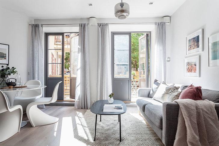 Уютная квартира в спокойных тонах на первом этаже (61 кв. м)
