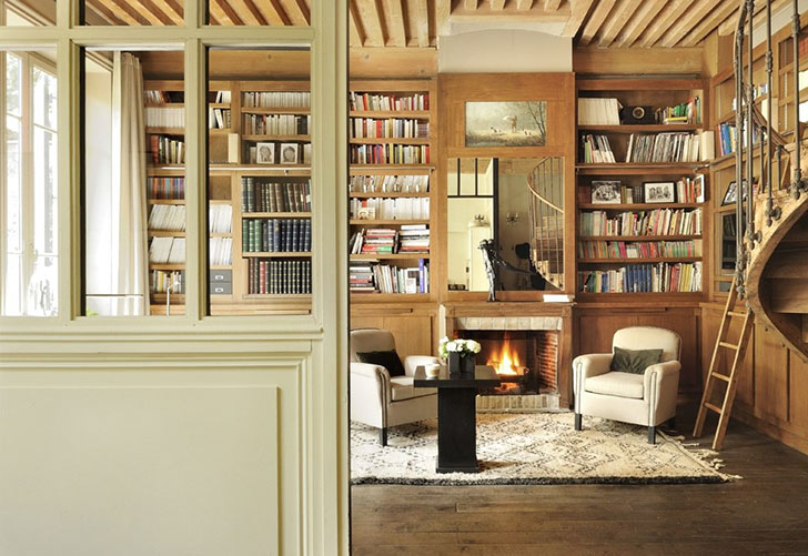 Cozy French Country Home With Big Library And Fireplace
