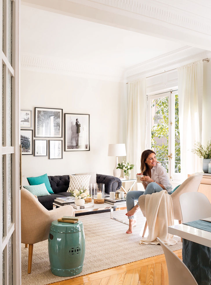 Приятная квартира модели и блогера Moni Moleskine в Мадриде   kvartira modeli moni moleskine v madride pufikhomes 1
