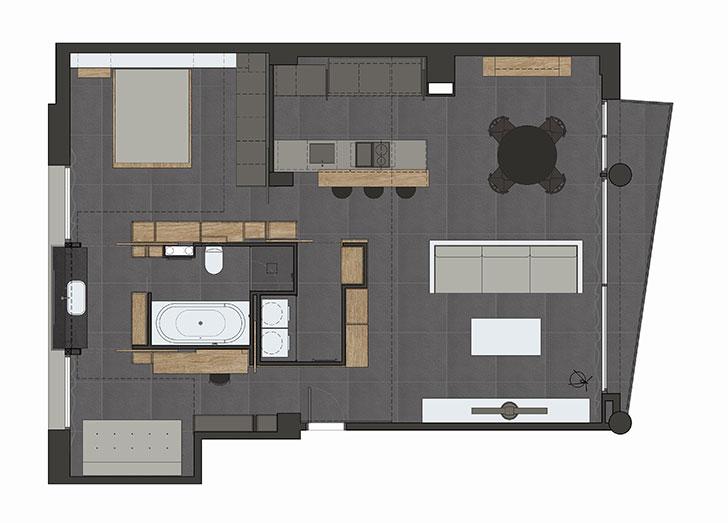 Стильная квартира с открытой планировкой в Барселоне (70 кв. м)