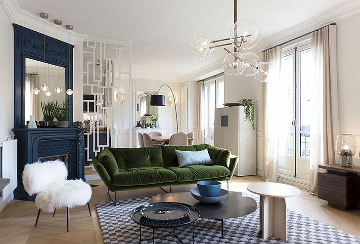 Paris Apartment With Green Velvet Sofa 〛 Photos Ideas Design