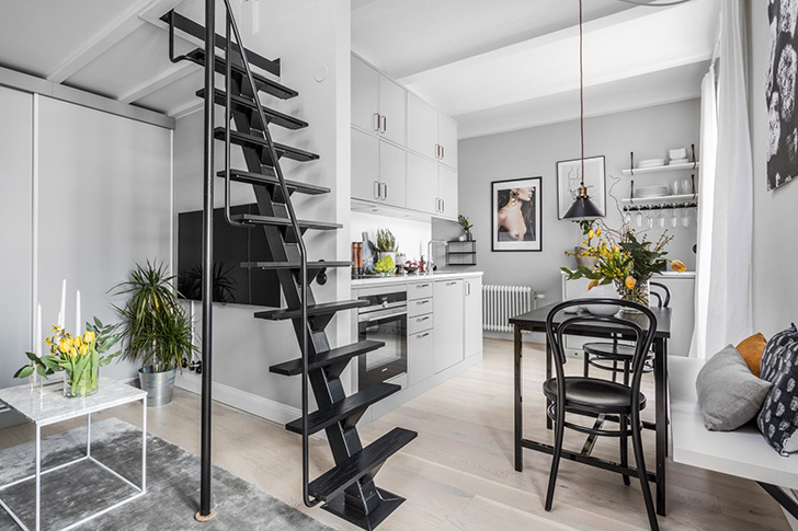 Small apartment with mezzanine bedroom in Stockholm (31 sqm ...