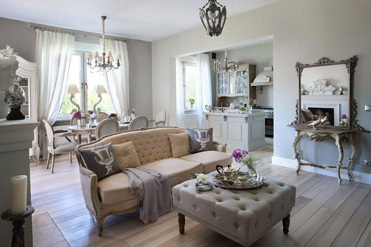 Комната в пастельных и бежевых тонах в классическом стиле Прованс