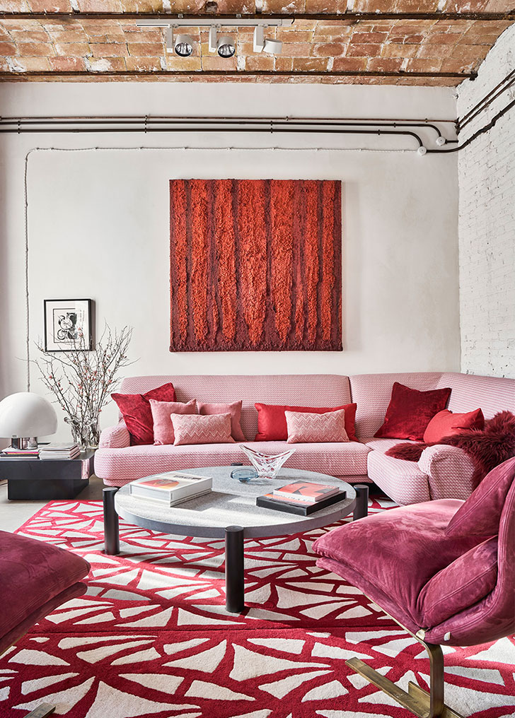 Pink Sofa And Loft Style Elements Eclectic Apartment In Barcelona