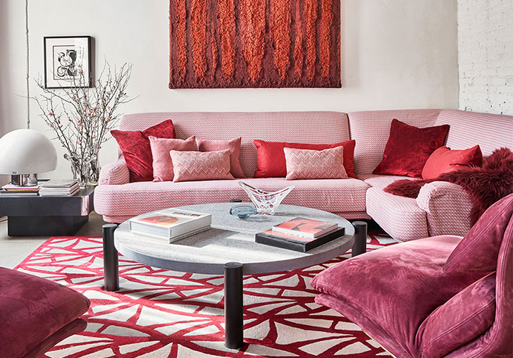 Pink Sofa And Loft Style Elements Eclectic Apartment In