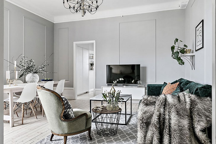 Exceptionnel The Scandinavian Interior Does Not Necessarily Have To Be Minimalistic And  Exclusively Modern. In This Apartment In Sweden, The Owners Mixed Elegant  Wall ...