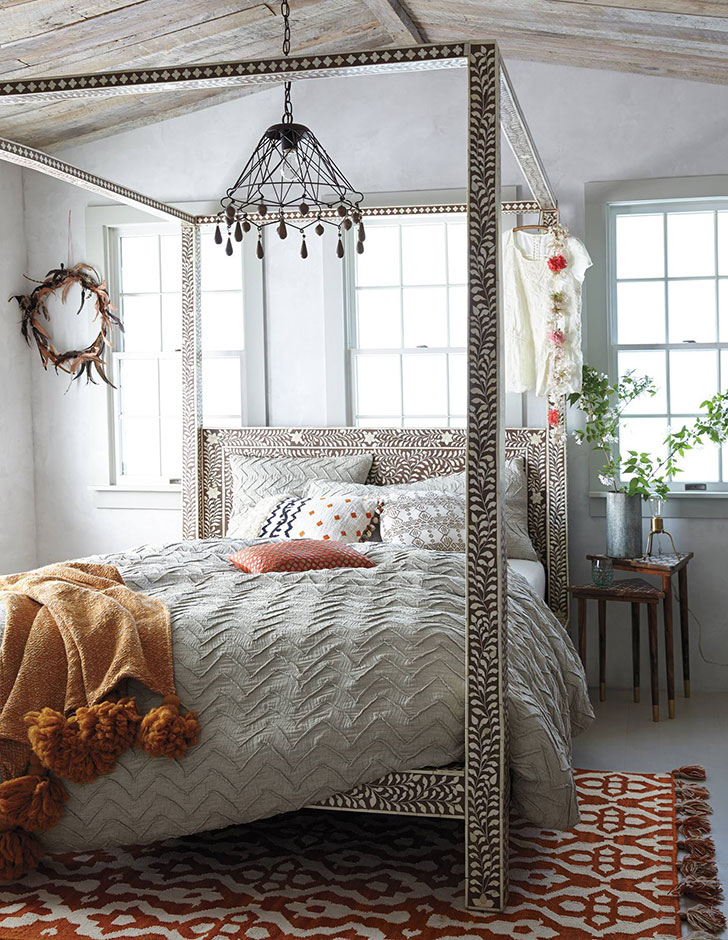 спальня бохо - фото