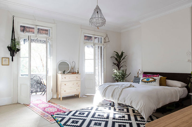 спальня в стиле бохо - фото