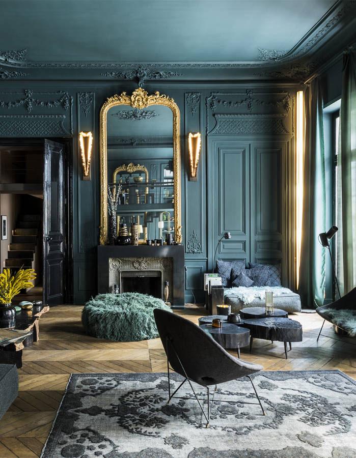 Bold Dark Colors For Paris Apartment 〛 Photos Ideas Design