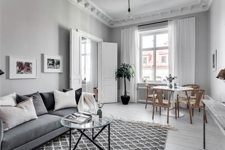 интерьер гостинной в скандинавском стиле - фото