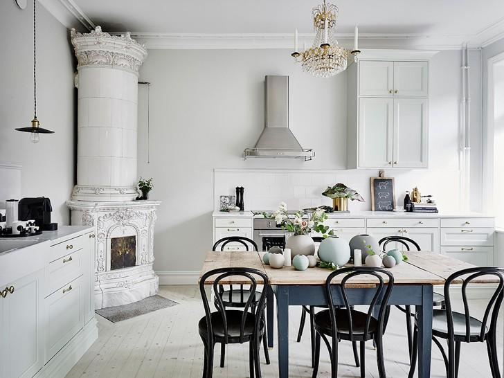кухня-столовая в скандинавском стиле - фото