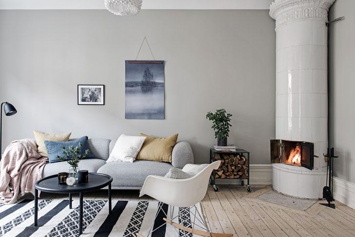 комната в серых и бежевых тонах - фото